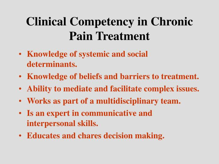 Clinical Competency in Chronic Pain Treatment