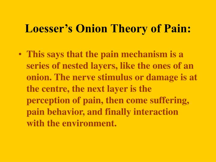 Loesser's Onion Theory of Pain: