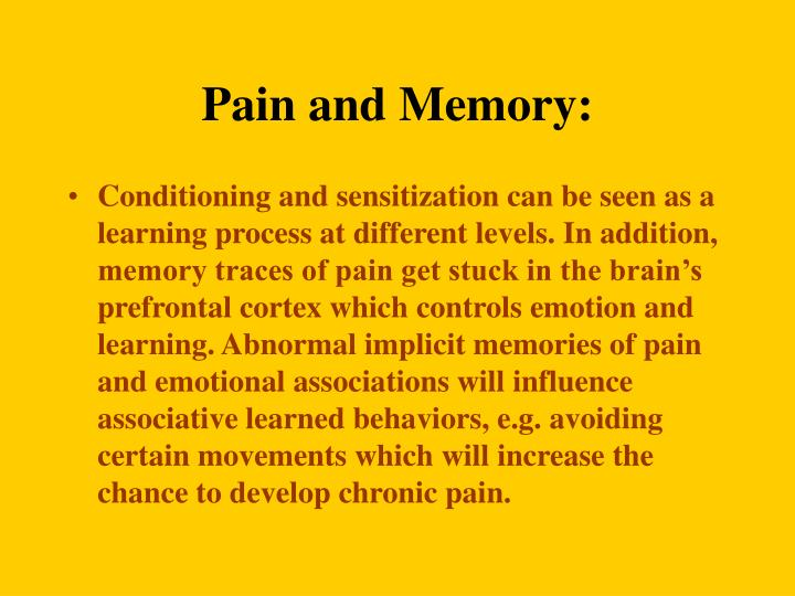 Pain and Memory: