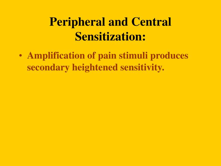 Peripheral and Central Sensitization: