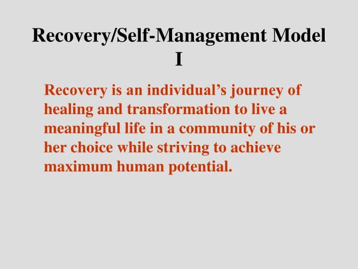 Recovery/Self-Management Model I
