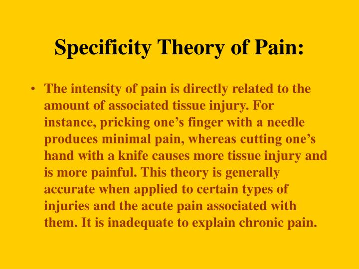 Specificity Theory of Pain: