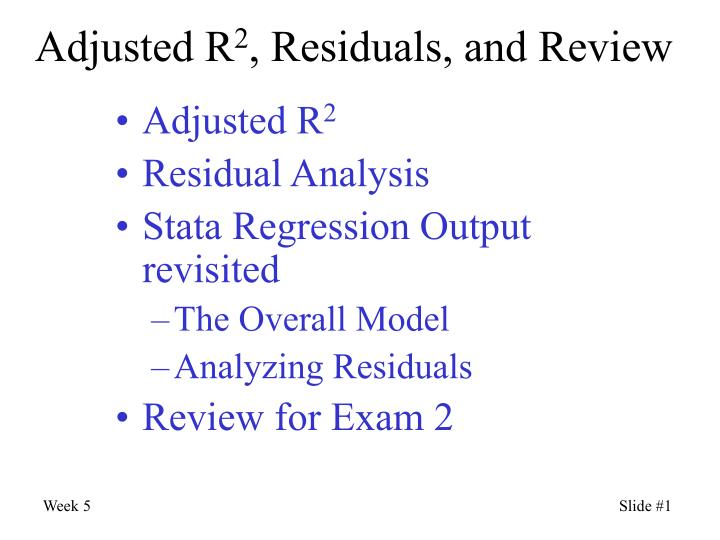 Adjusted r 2 residuals and review