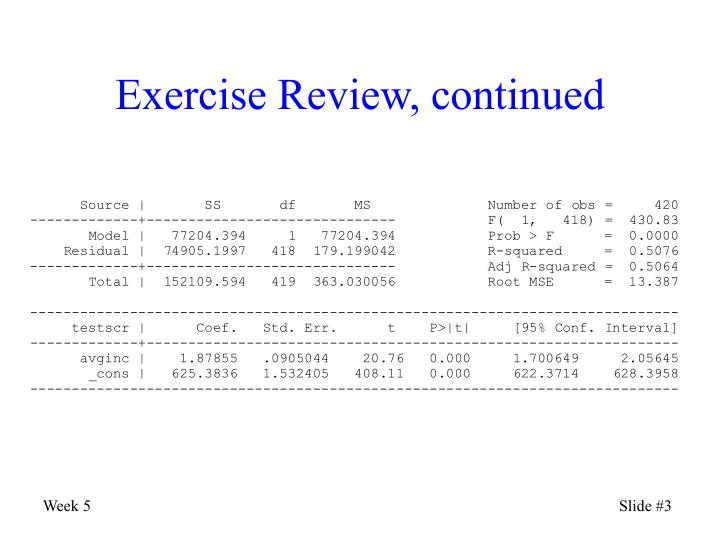 Exercise Review, continued