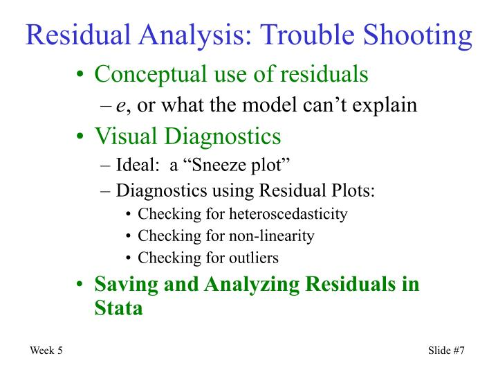 Residual Analysis: Trouble Shooting