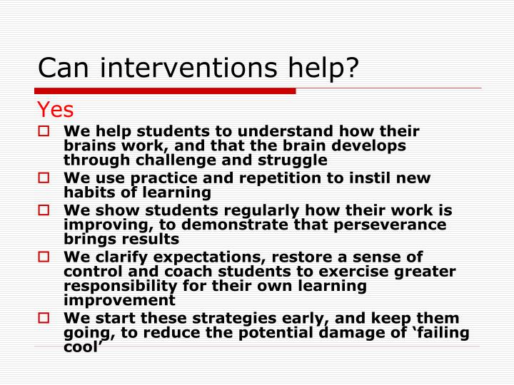 Can interventions help?