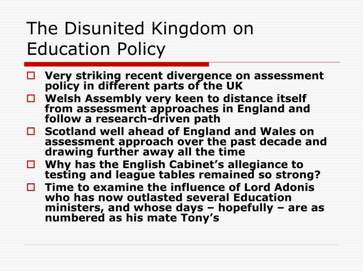 The Disunited Kingdom on Education Policy