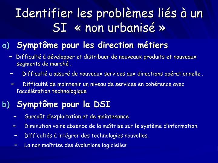 Identifier les problèmes liés à un SI  « non urbanisé »