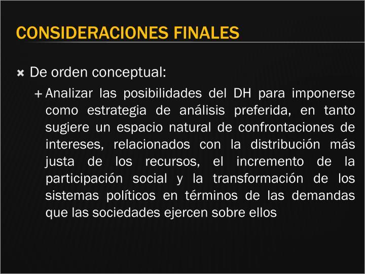 De orden conceptual: