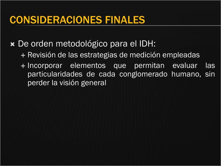 De orden metodológico para el IDH: