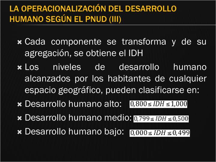 Cada componente se transforma y de su agregación, se obtiene el IDH
