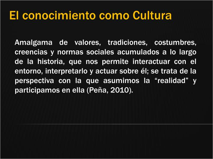 El conocimiento como Cultura