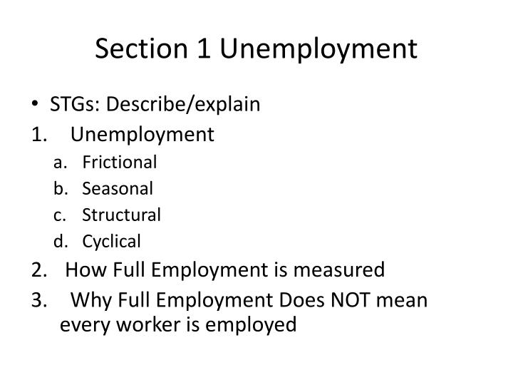 Section 1 unemployment