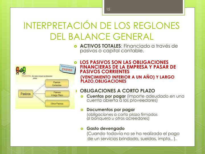INTERPRETACIÓN DE LOS REGLONES DEL BALANCE GENERAL