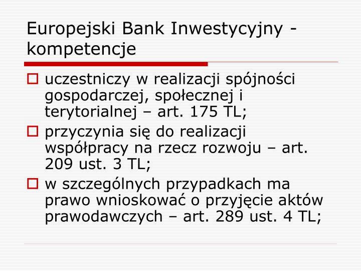 Europejski Bank Inwestycyjny - kompetencje
