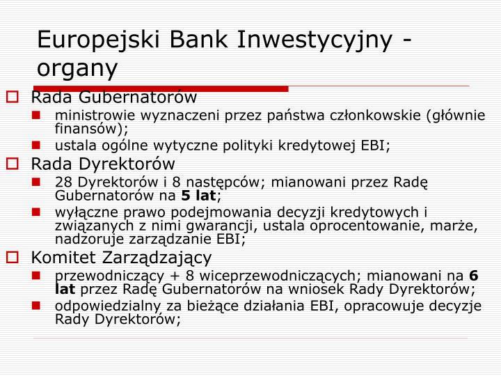 Europejski Bank Inwestycyjny - organy
