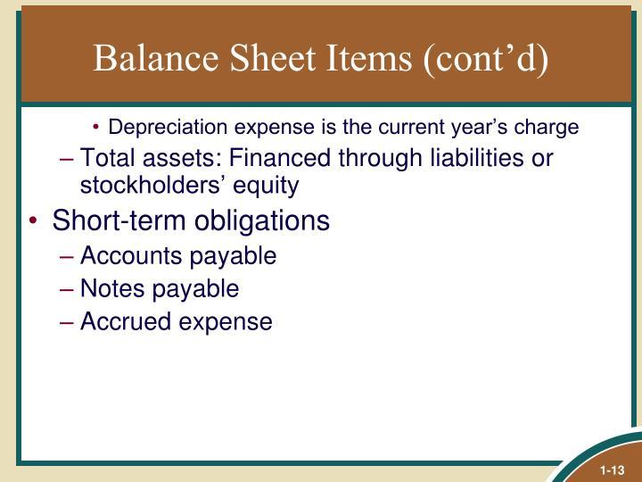 Balance Sheet Items (cont'd)