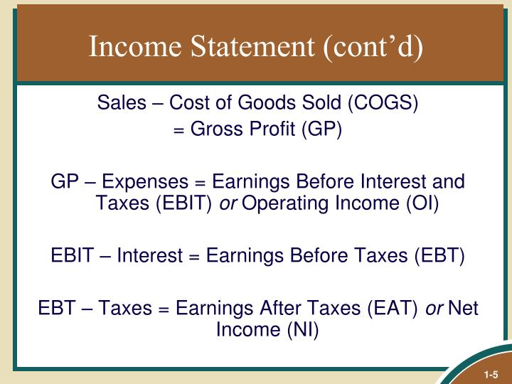 Income Statement (cont'd)