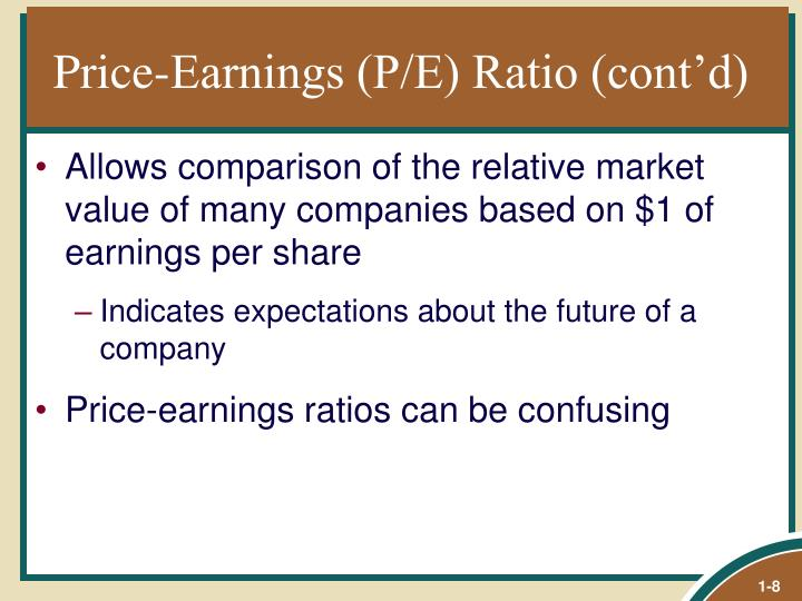 Price-Earnings (P/E) Ratio (cont'd)