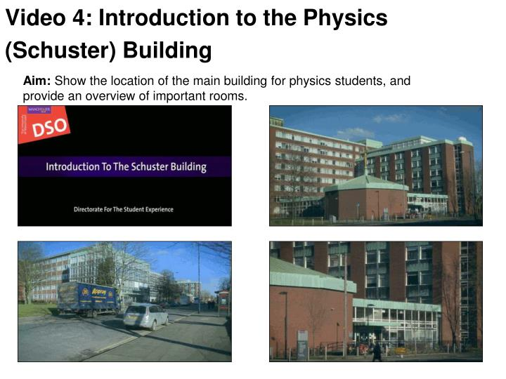 Video 4: Introduction to the Physics (Schuster) Building