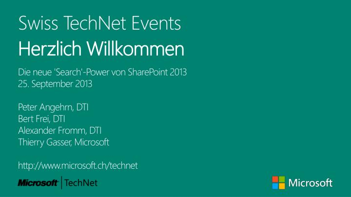 Swiss TechNet Events