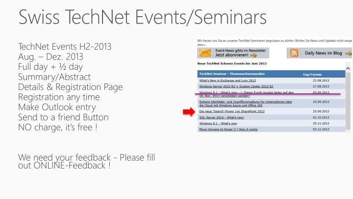 Swiss TechNet Events/Seminars