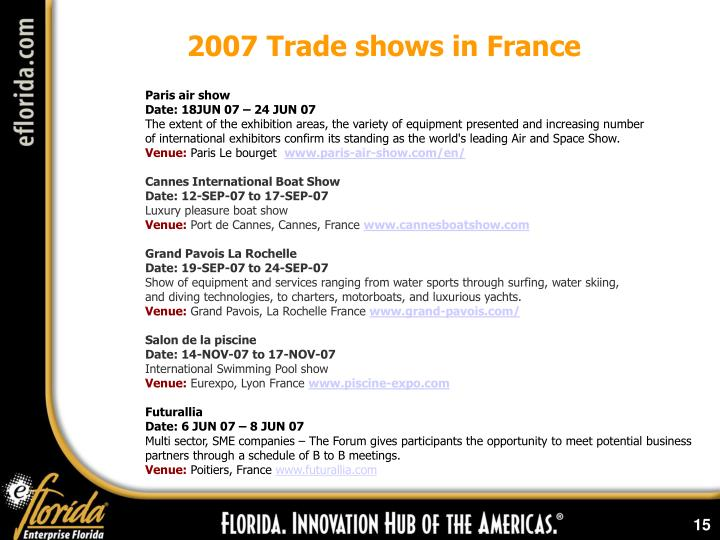 2007 Trade shows in France