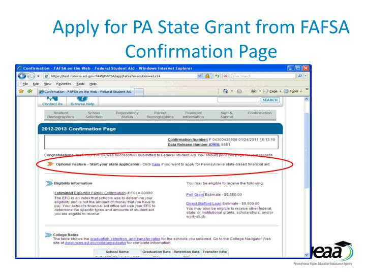 Apply for PA State Grant from FAFSA Confirmation Page