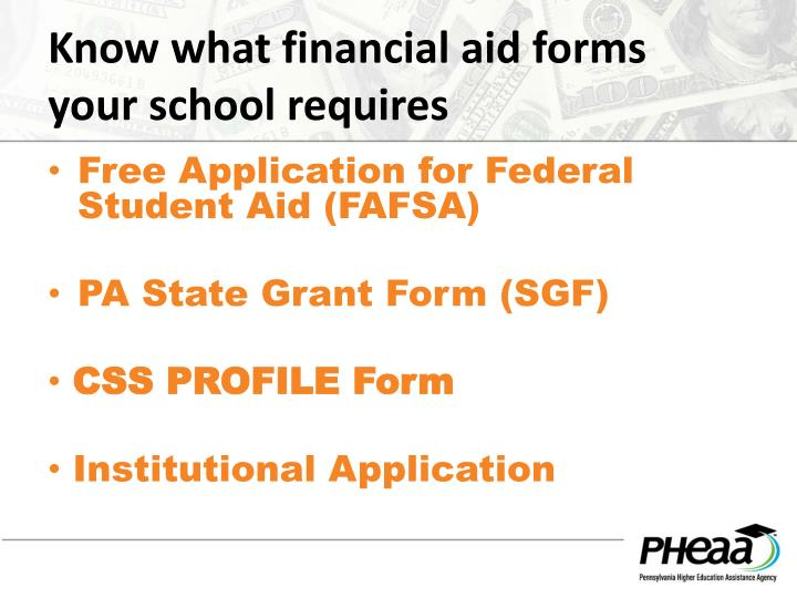 Know what financial aid forms