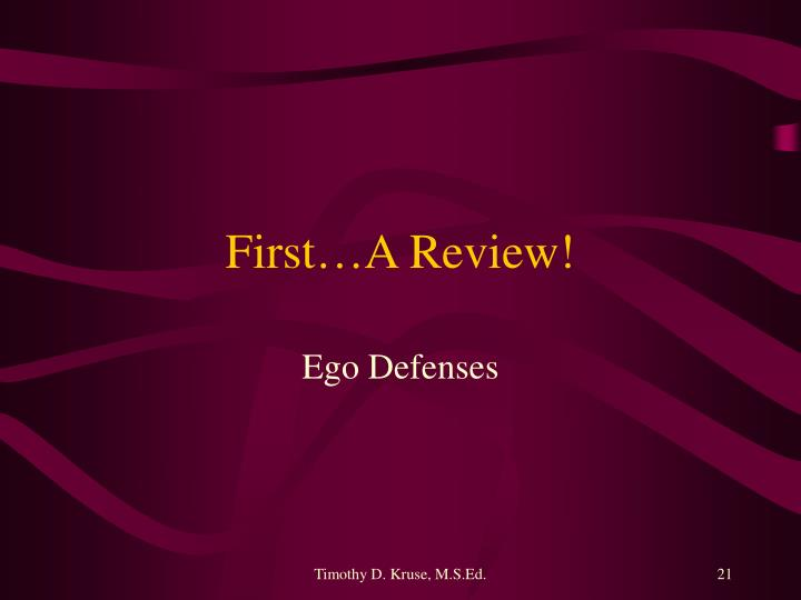 First…A Review!