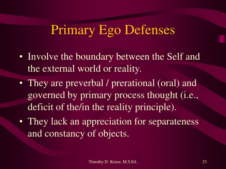 Primary Ego Defenses