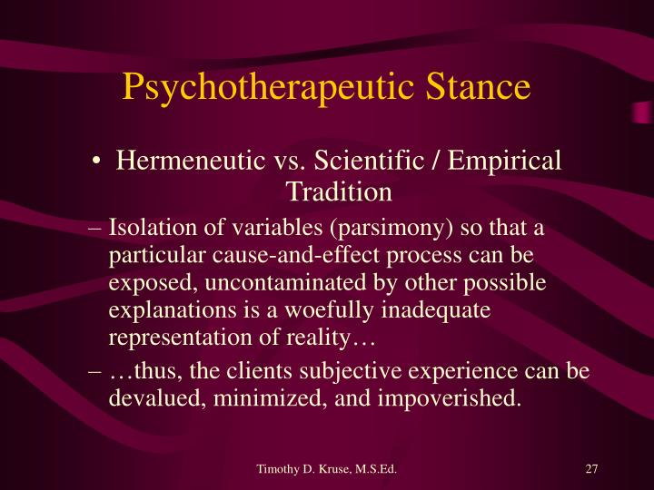 Psychotherapeutic Stance