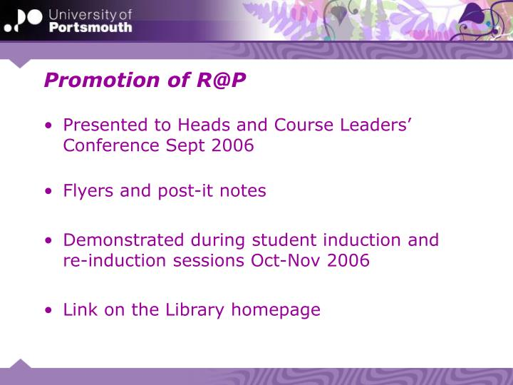 Promotion of R@P