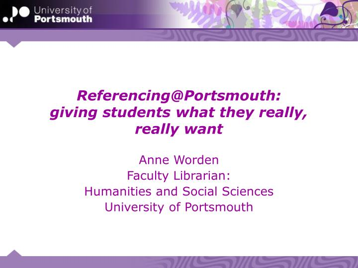 Referencing@Portsmouth:
