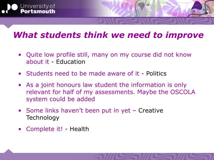 What students think we need to improve