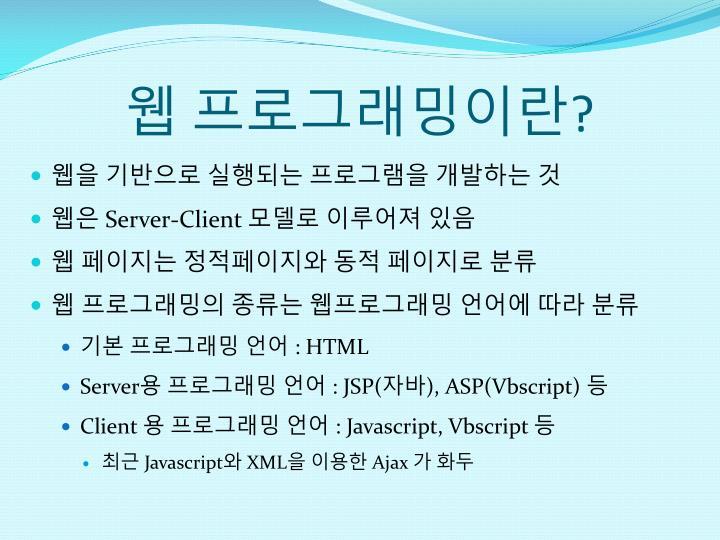 웹 프로그래밍이란