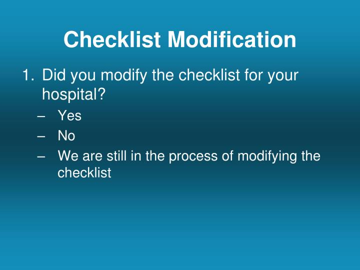 Checklist Modification