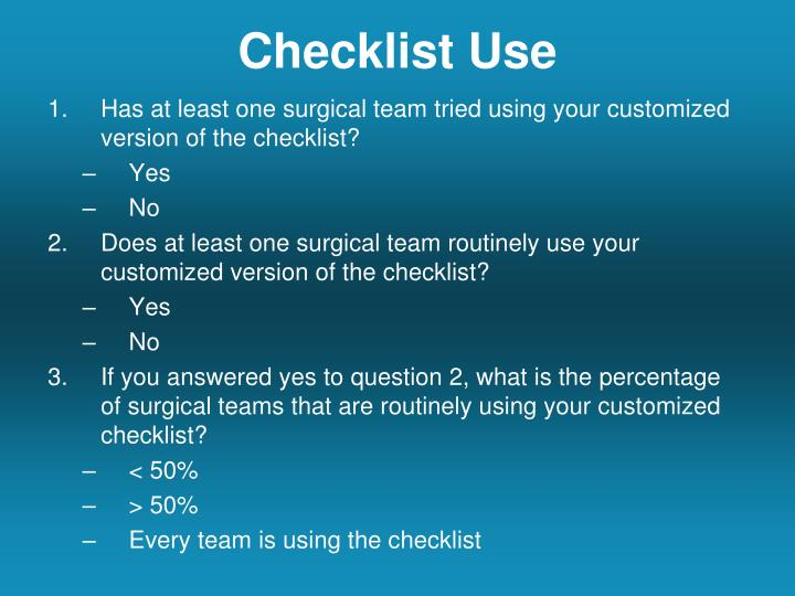 Checklist Use