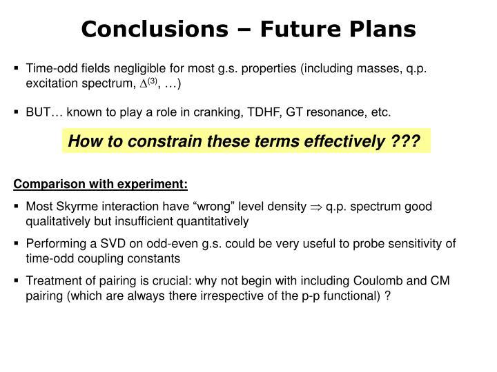 Conclusions – Future Plans