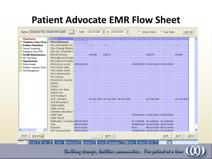 Patient Advocate EMR Flow Sheet