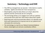 summary technology and ehr
