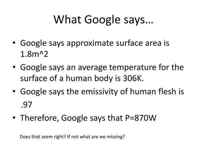 What Google says…