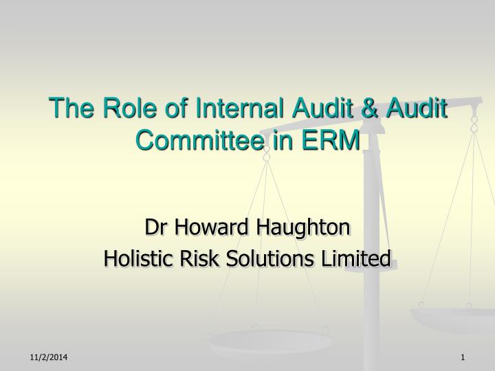 role of internal auditors in risk Seventh asia pacific interdisciplinary research in accounting conference, kobe 26-28 july, 2013 1 paper#: k224 the role of internal auditing in risk management.