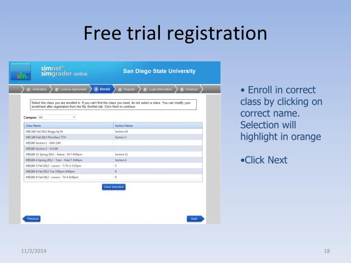 Free trial registration