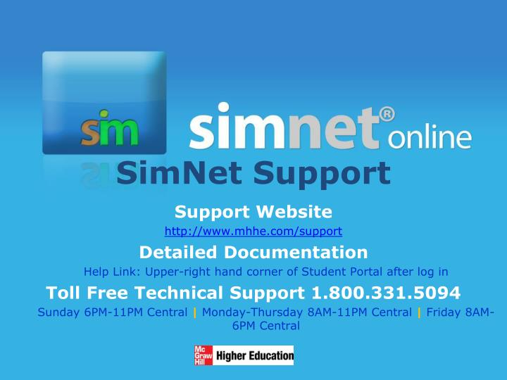 SimNet Support
