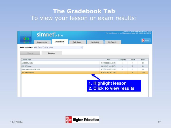 The Gradebook Tab