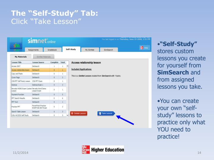 "The ""Self-Study"" Tab:"