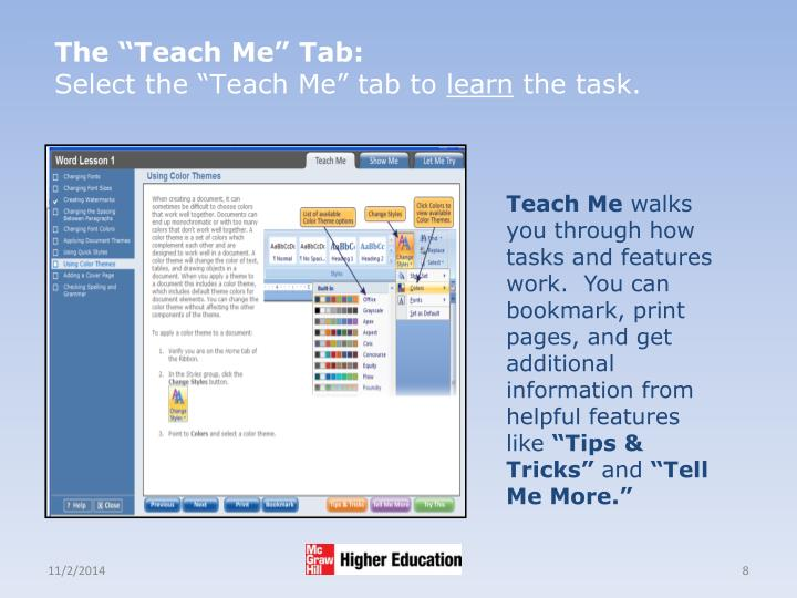 "The ""Teach Me"" Tab:"