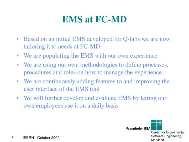 EMS at FC-MD