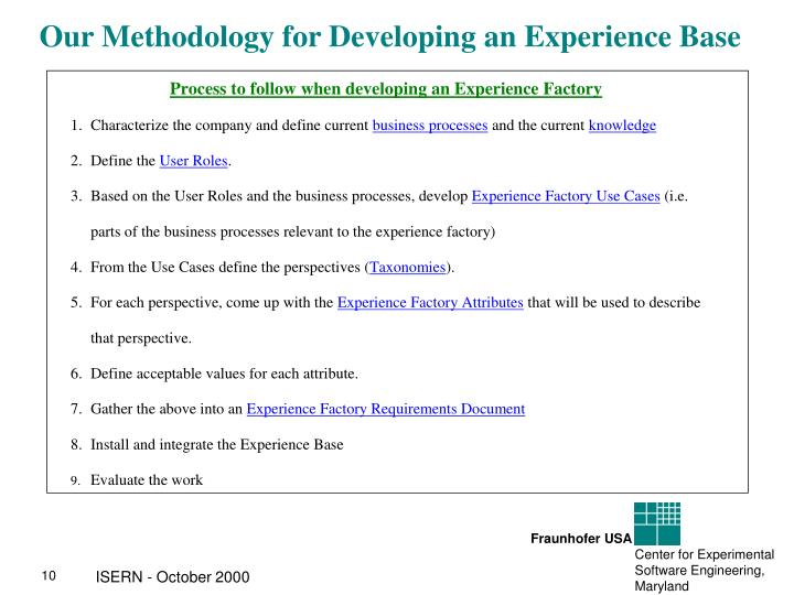 Our Methodology for Developing an Experience Base